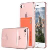 Cheap Pink Ultra Slim Thin Apple Cell Phone Cases Crystal TPU With Card Slot SGS for sale
