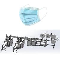 Best Flat Disposable NonWoven Mask Making Machine System with 3 layer Blue Color wholesale