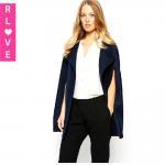 Best Europe New badges  wavy dark button wool coat it loose sleeveless cloak cape female wholesale