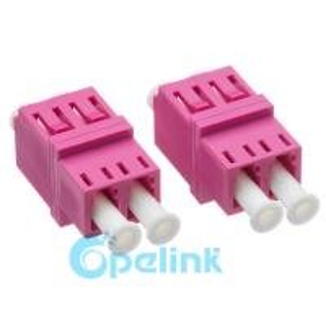 China LC-LC Square Type Plastic Duplex Multimode OM4 Fiber Optic Adapter on sale