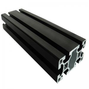 China Custom 6063 T5 Aluminium Extrusion Profiles Black Anodized Slot Linear Rail on sale