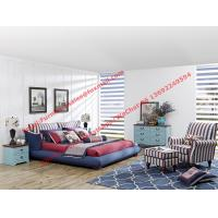 Best Blue and white strip Upholstered furniture bedding ship type headboard with pillow and fabric surronding bedstead wholesale