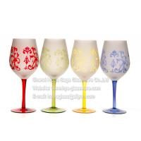 Best Sand blast wine glasses with painted colores wholesale