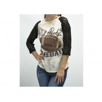 Buy cheap Football Season Ladies Tops And Blouses , Gorgeous Lace 3 / 4 Sleeve Womens Tops from wholesalers