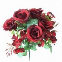 Buy cheap Fully-handmade rose bush with 12 heads in bright color from wholesalers