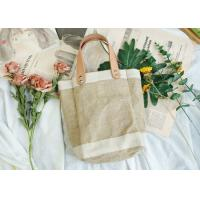China Women Waterproof Jute Packaging Bags With Leather Handle on sale