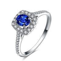 Best Solid 18k White Gold Sapphire And Diamond Ring , Diamond Engagement Rings For Women  wholesale