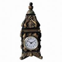 Best Polyresin Table clock in Antique Brown Finish with Plastic Dial and Battery Movement wholesale