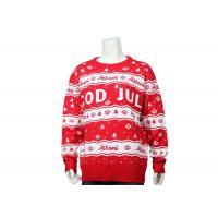 Best Men Crew Neck Best Christmas Sweater Red And White Letter Crossword In Acrylic wholesale