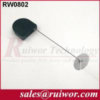 Balck / White Bazaar Display Security Tether With Adhesive ABS Plate / 2.8x2.8x0.8Cm Box