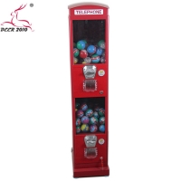 China Outdoor Red Metal body Durable Kiosk candy capsuel coin operated candy dispenser for telephone booth on sale