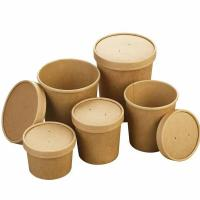 Best Different capability kraft paper cup leakproof take away food seal packaging wholesale retail supplier wholesale