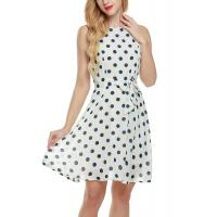 Best Bow Waist Short Chiffon Summer Dresses , Plus Size Polka Dot Maxi Dress wholesale