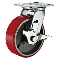 Best Lockable Industrial Trolley PU Caster Wheel With Plate Fitting 4 Inches wholesale