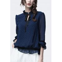 China Polyester Fashion Ladies Blouse Chiffon Pullover Long Ruffle Sleeve For Autumn Season on sale
