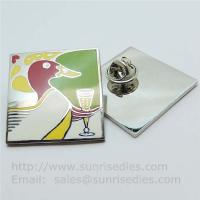 Cheap Cloisonne pin badge with butterfly clutch, copper Cloisonne lapel pin factory for sale