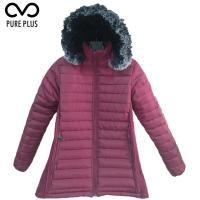 Best Windproof Ladies Light Padded Jacket , Metallic Womens Down Jacket Long Hoodies wholesale