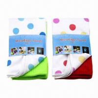Best Microfiber Towel Set of 2 Pieces, Includes 1 Piece with Printing Pattern and Another Solid Color wholesale