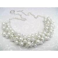China Fashion Crystal Casting Costume Jewelry Beaded Pearl Necklace for Party 20g OEM on sale