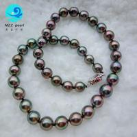 Best Genuine Black near round 8-10mm Tahitian seawater Pearl Necklace for wholesale wholesale