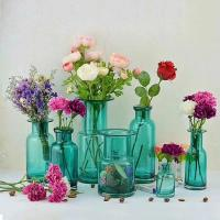 Best Home Deco Glass Vases / Blue Glass Flower Bottle / Round Top Vase wholesale