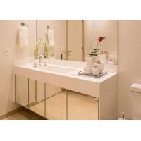 Best White Nano Glass Bathroom Vanity Countertops With Sink / Cabinet wholesale