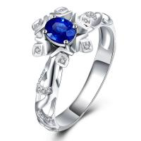 Best Star Solid 18k Gold Sapphire Diamond Ring White Gold For Engagement wholesale