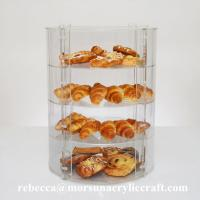Best New Countertop Eco-friendly Four Tier Transparent Acrylic Bakery Display Case wholesale