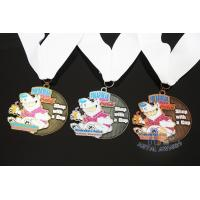 Best Soft Enamel Sports Medals And Ribbons With Black Nicekl Plating , Sublimated Ribbon wholesale