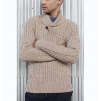 Best Men ' S Heart Shawl Collar Knit Pullover Sweater 3GG Gauge With All Over Cable wholesale