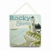 Best Polyresin Decorative Wall Hanging Plaque for Home Decoration, with Sea and Lighthouse Design wholesale