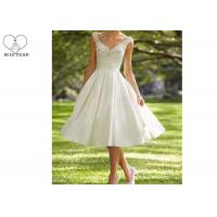 China Knee Length Short Beaded Wedding Dress Satin ,  Inside Lining Fabric on sale