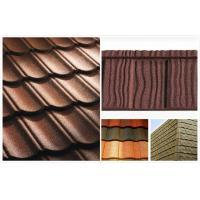 China Flat Shake Aluminum Stone Chip Coated Steel Roof Tiles For Mansion / building outdoor wholesale