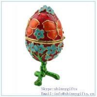 Hand- Painted Rich Green Vintage Faberge Egg with Gold Finish, Rhinestones, Enamel Jewelry
