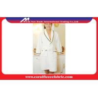 Best Polyester Super Soft Fabric Womens Dressing Gown / White Coral Fleece Bathrobe wholesale