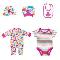 Best New Born Girls Cotton Infant Rompers Bibs Bodysuit Clothes Full Printed Baby Clothing Set wholesale
