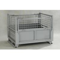 China IBC Metal Cage Warehouse Metal Storage Bins With Gray Painted Foldable Metal Cage on sale