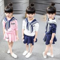 2016 Kid Girl Clothes Navy Sport Cute Style Clothing Set 2pcs Summer Top + Fashion Skirt