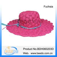 China Wholesale 100% paper string design women wide brim straw hat with bowknot on sale