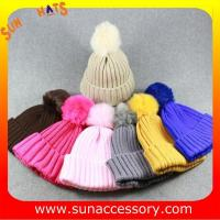 Best AK170191 Sun Accessory cheap knitted beanie hats with pom pom wholesale