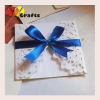 Best Luxurious white wedding banquet invitation card 15 by 15cm with blue ribbon wholesale