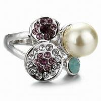Best Jewelry ring, Made of zinc alloy, Pearl and Czech stones, Available in Various designs and colors wholesale