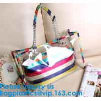 Best PVC Waterproof outdoor Travel Shopping Bags Fashion Lady Colorful Striped Beach Bags Waterproof Outdoor Beach Bean Bag wholesale