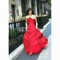 Best Red Strapless A-line Taffeta Gown with Sweetheart Neckline, Delicate Beading Along Bodice wholesale