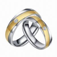 Best Brilliant Stainless Steel Gold Stripe Wedding/Couple Rings, Customized Designs Available wholesale