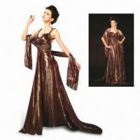 China Exquisite Ruby Silk Evening Dress with Strap, Shawl and Built-in Bra, Available in Brown on sale