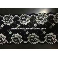 China Embroidered Metallic Lace Trim / Rose White , Black Floral Lace Fabric on sale