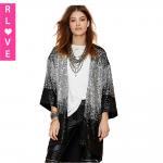 Best Boutique 2015 spring new shiny sequins gradient nine points sleeve loose cardigan coat wholesale