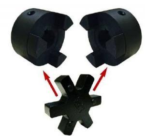 China L Type Flange Cast Iron Polyurethane Coupling Black / Red Color L035-225 Size on sale