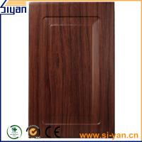 Best black wood grain pvc film pressed custom design mdf kitchen cabinet doors wholesale